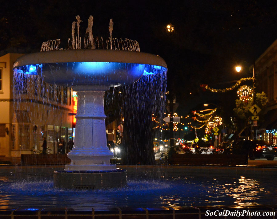 Orange circle water fountain Christmas blue lights